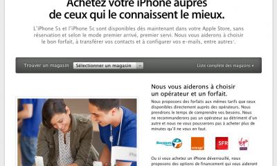 Capture d'écran du site d'Apple