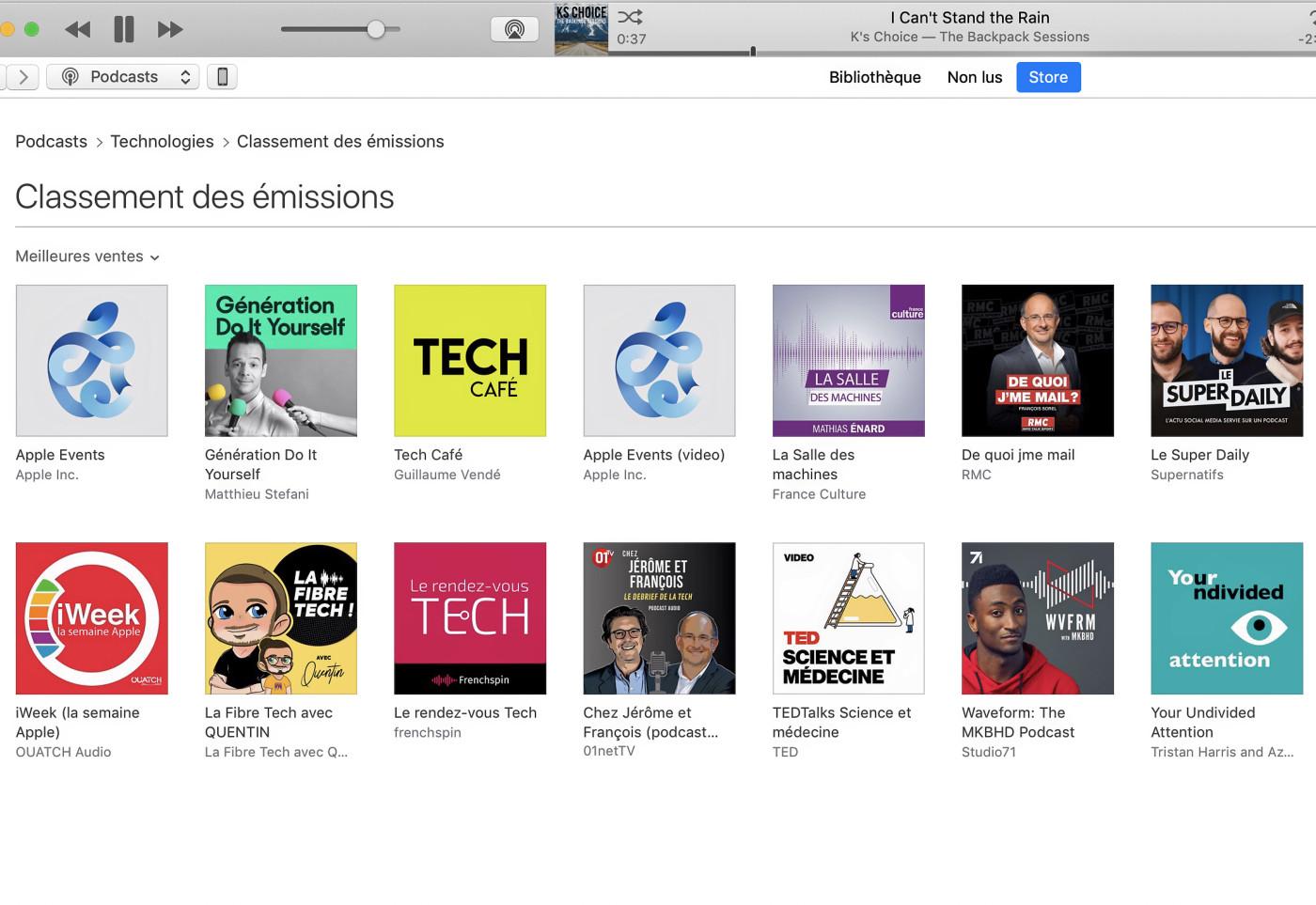 Capture d'écran de l'iTunes Store