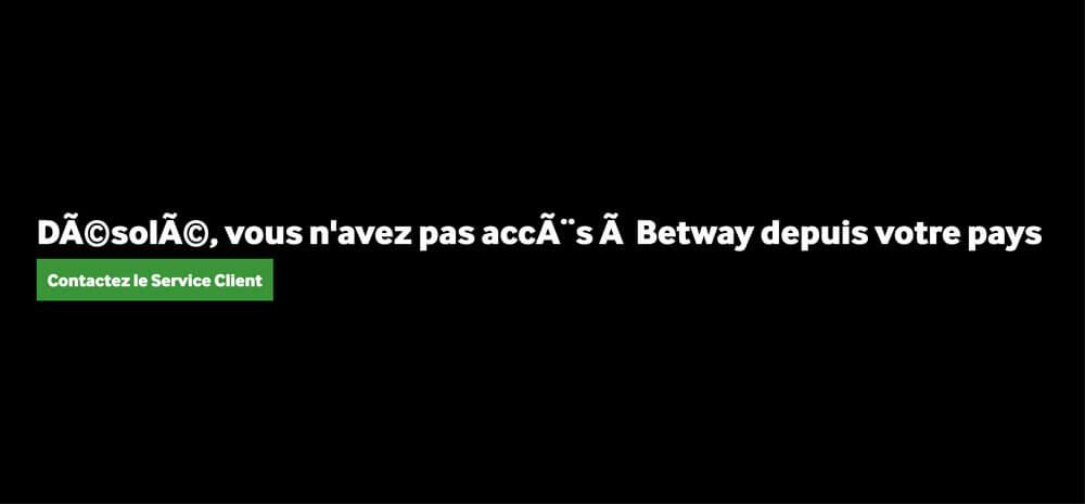 Message erreur Betway
