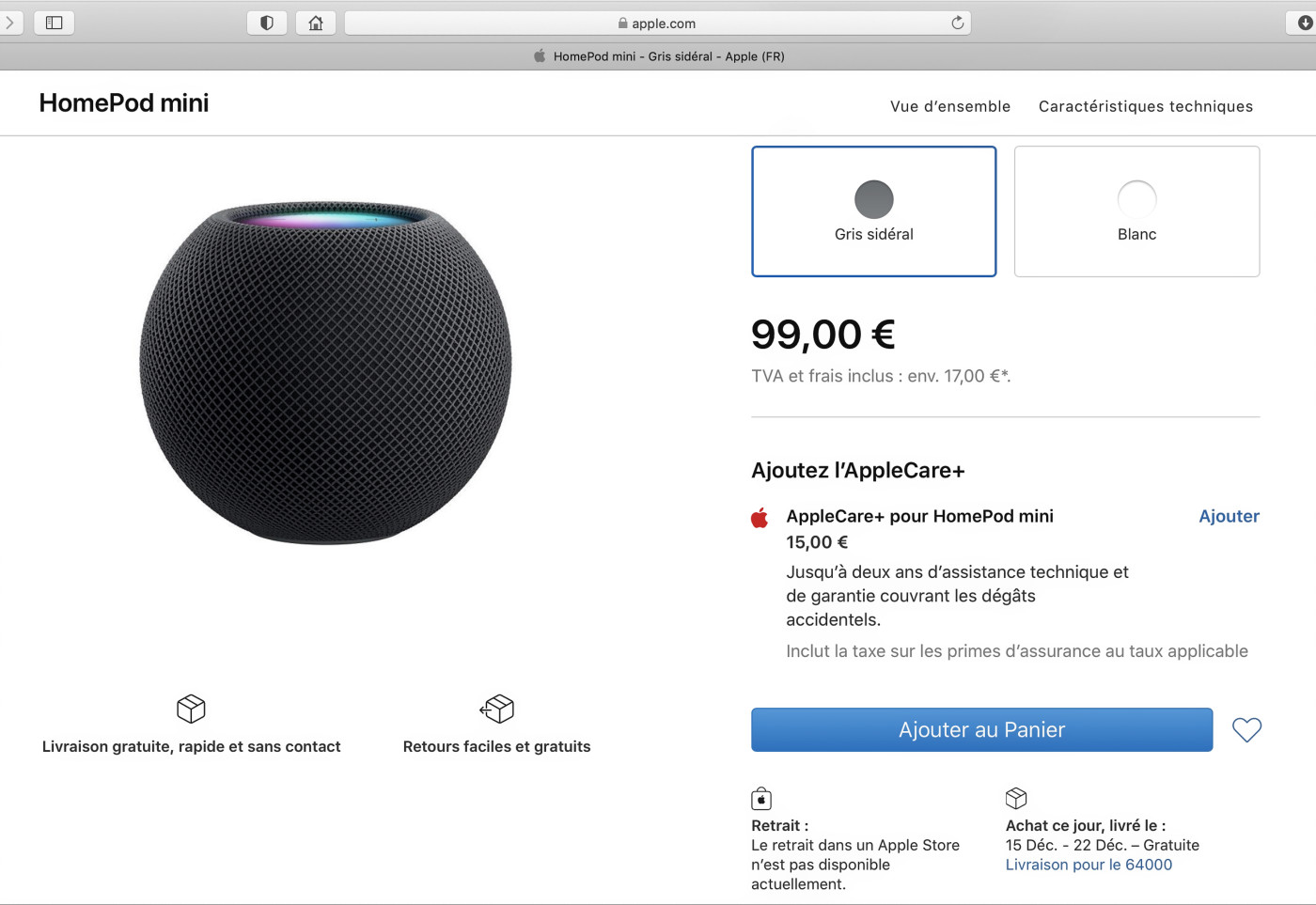 Page Apple Store du HomePod
