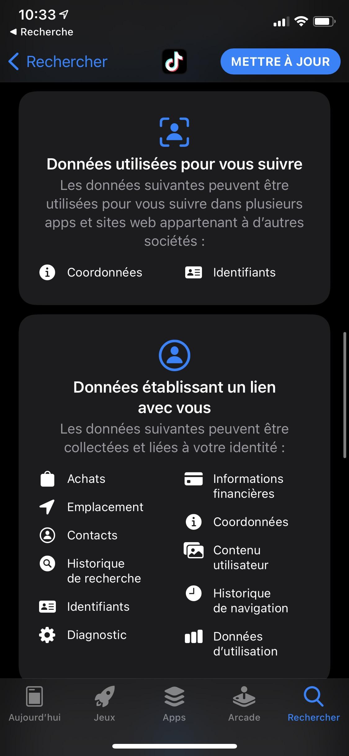 Étiquettes de confidentialité sur l'App Store