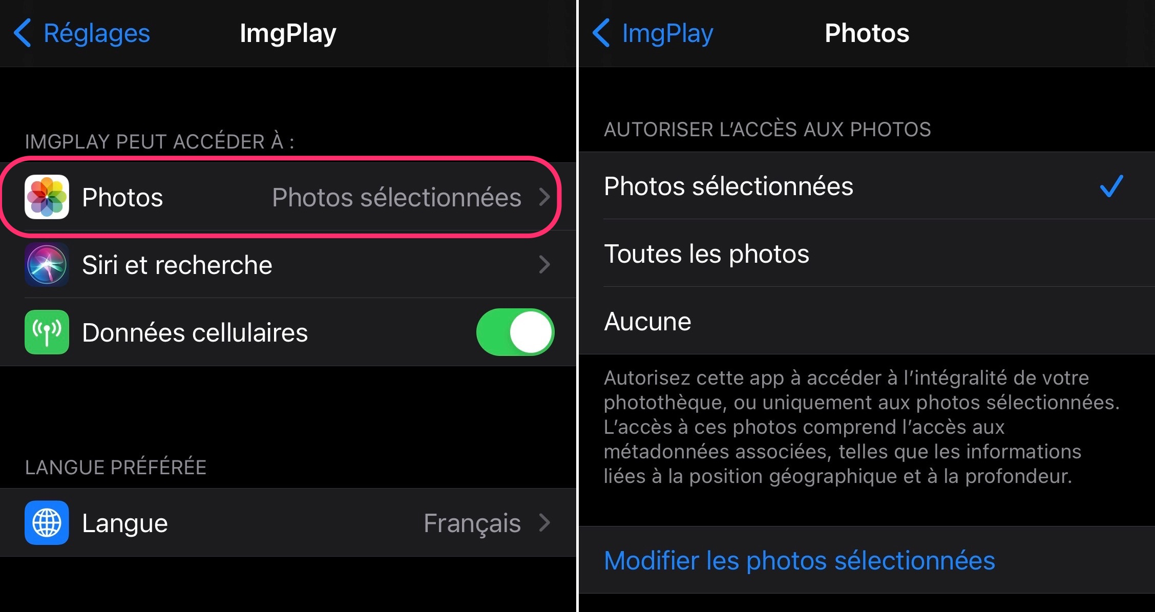 iOS accès photos