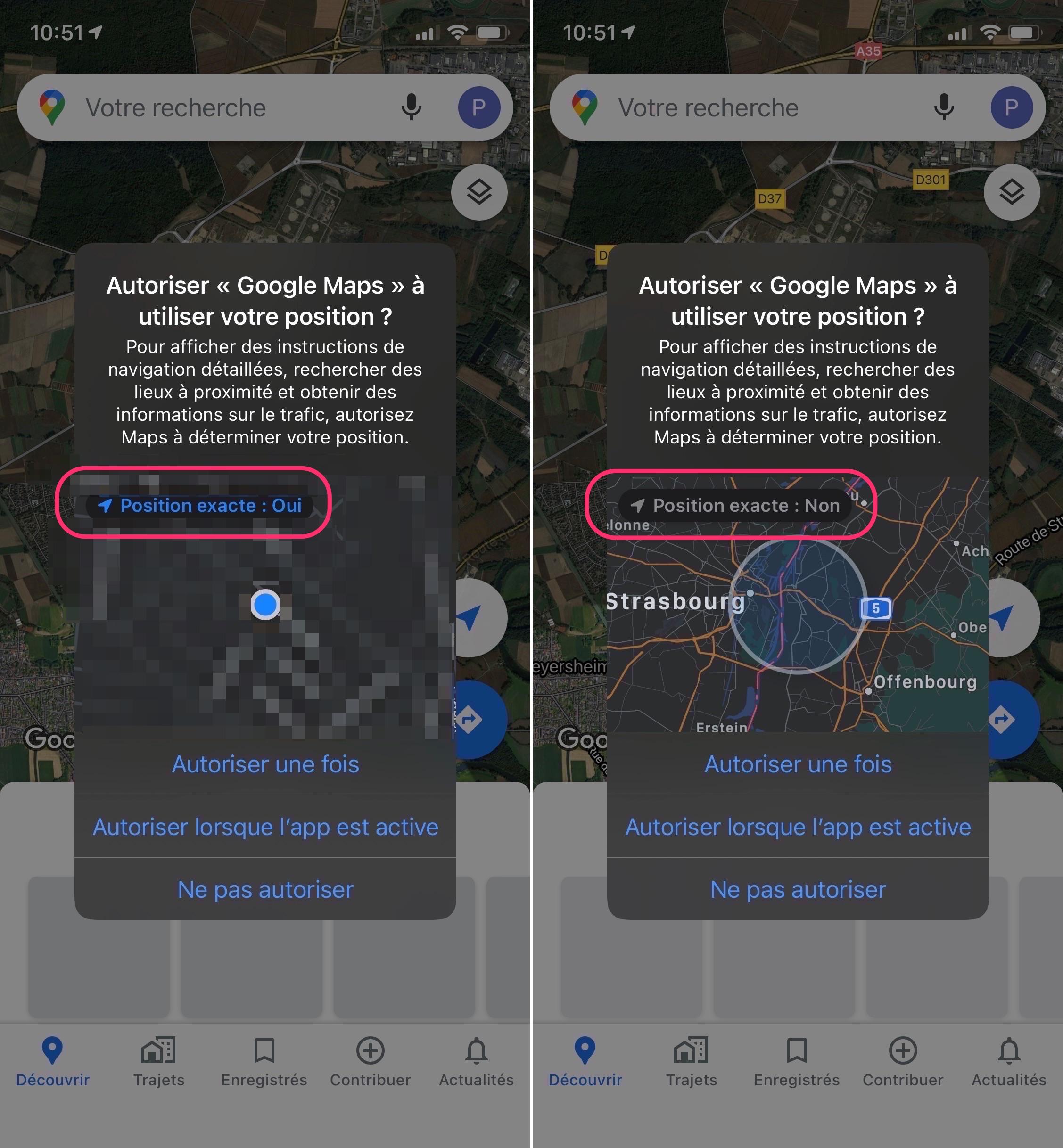 iOS demande position approximative